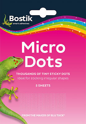 Bostik Bostick Blu Blue Tack Micro Glue Adhesive Dots 5 Sheets 805972 new