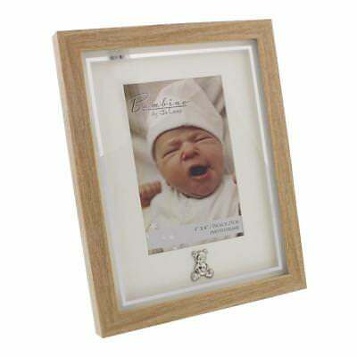 "Baby Photo Frame Wood With Silver Teddy Icon 6"" x 4"" Boxed CG121946"