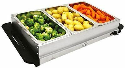NEW QUEST 200W Buffet Server & Warming Tray/Hotplate + 3 Lids-Dinner/Party ETC
