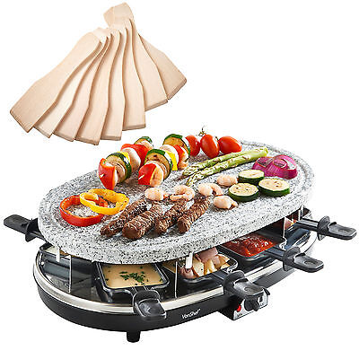 VonShef 8 Person Natural Stone Plate Raclette Grill Table Top BBQ Hotplate