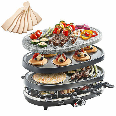 VonShef 3 in 1 Natural Stone Raclette Grill Crepe Tapas Maker Fondue Hotplate