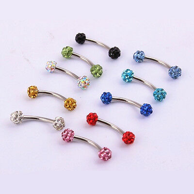 16G Surgical Steel CZ Ball Barbell Curved Eyebrow Ring Bar Tragus Ear Piercing