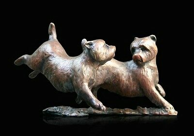 Westie Pair Playing Solid Bronze Foundry Cast Sculpture by Michael Simpson [805]