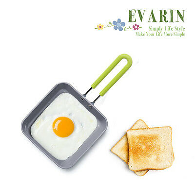 Square Pan Compact Ceramic Non Stick Silicone Handle French Toast Egg Bacon Fry