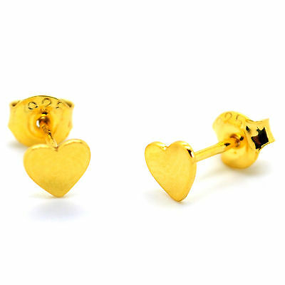Gold Plated Sterling Silver Heart Stud Earrings for Women and Girls with Posts