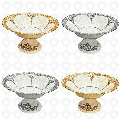 Romany Bowl Gold Silver Diamante Ceramic China Gypsy Quilted White Jars Fruits