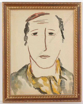 """Boris Deutsch (1892-1978) """"Head of a young Orthodox Jew"""", large watercolor, 1928"""
