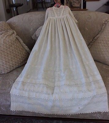 French Heirloom c1890 Hand Embroidered Christening Cotton Gown~Dolls,Babies