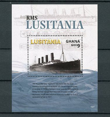 Ghana 2015 MNH RMS Lusitania WWI 1v S/S Boats Ships First World War One Stamps