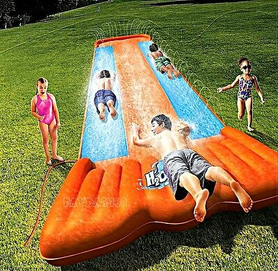 Inflatable Double Water Slide Outdoor Kids Play Backyard Pool BIG Splash Spit