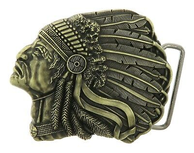 Bronze American Indian Chief Head Western Indian Metal Fashion Belt Buckle