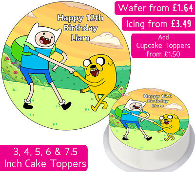 Adventure Time Jake And Finn Edible Wafer & Icing Personalised Cake Toppers