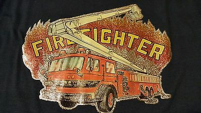 Vintage 80s 1980 Firefighter Iron-On T-Shirt Police Hero Office Boss Problems