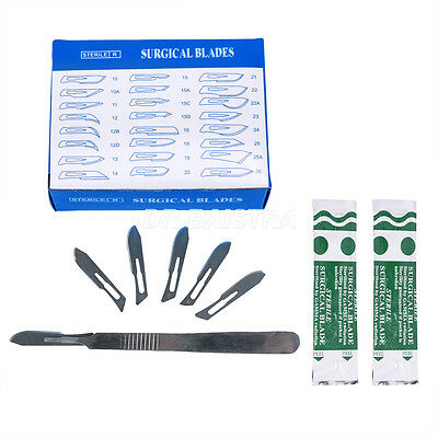 Kit 1X Dental Surgical Scalpel Handle +100pcs/Box Sugical Scalpel Blades #10 HOT