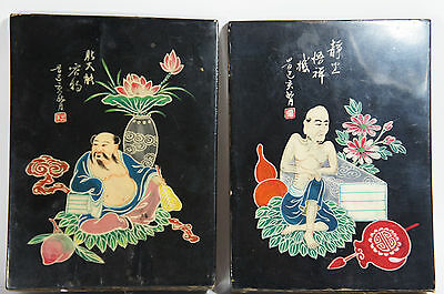 Oriental Chinese Japanese Lacquer Asian Man Figure Wood Book End Pair Signed