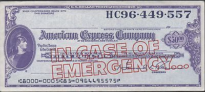 Travellers Cheque / American Express $50  in Case of Emergency Uncirculated
