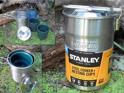 Stanley Compact Steel Camping Bushcraft Cooker Set & Two Nesting Cups Mess Tins