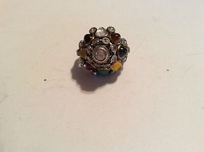 Antique Princess Ring from Thailand Multi gemstone Dome Shape  10K size 5 3/4
