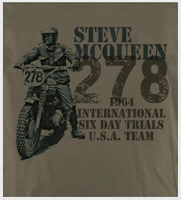 King of Cool Biker Steve McQueen Trial Bike Design 1964 Putty T-Shirt