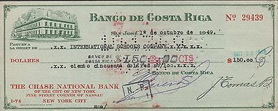 Costa Rica / Banco De Costa Rica  $150 1.10.1949  Circulated  Rare
