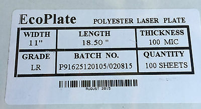 "Polyester plates / Laser Plates 11"" x 18.5"" ECO PLATE"