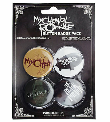 MY CHEMICAL ROMANCE BUTTON BADGE PACK 4 x BADGES NEW & OFFICIAL BAND MERCHANDISE