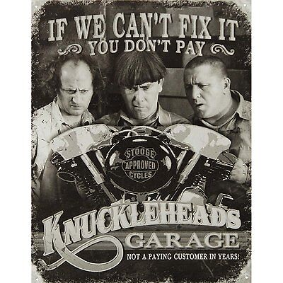 Three Stooges Tin Metal Sign : Knuckleheads Garage , 16x13 by Poster Discount, N