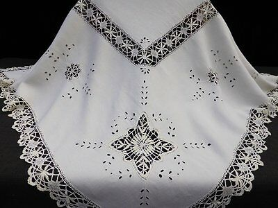 Antique Linen Cloth-Hand Embroidery-Torchon Bobbin Lace Insets
