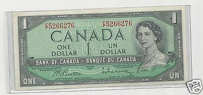 1954 Bank Of Canada One Dollar Bill,  Mint Condition