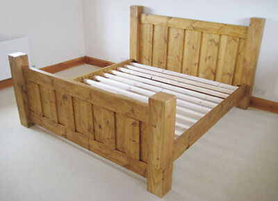 Chunky Wood Rustic 'The Atlow Bed' Double King Super Bed Frame