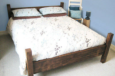 Chunky Wood Rustic 'The Bola Bed' Double King Super Bed Frame