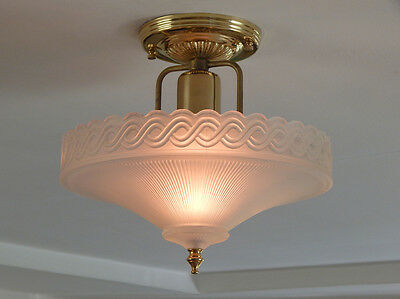 Antique War Era Center Post Light Fixture Vintage Shade Custom Brass Fixture • CAD $216.72