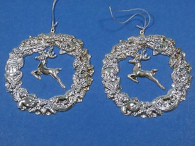 Silver Reindeer Wreath Ornaments