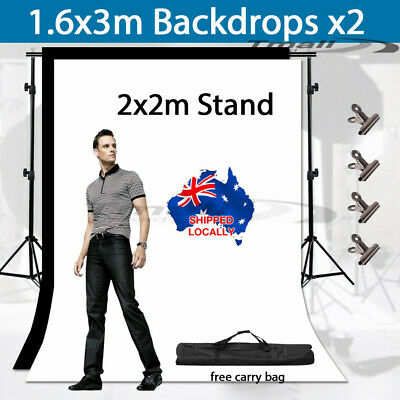 Large Chroma Key Screen with Black and White Backdrop stand Kit Photography Set