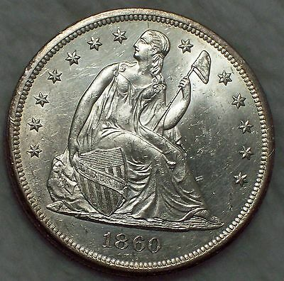 1860 O Seated *SILVER* DOLLAR UNCirculated - RARE *Bright Authentic Lustrous Gem