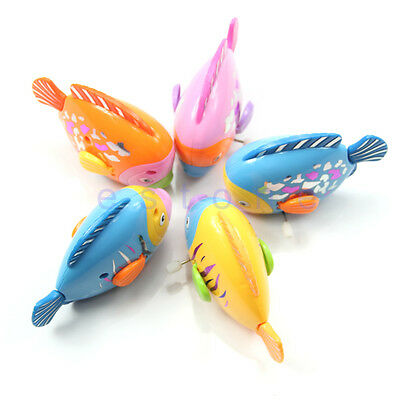 1pc Children Plastic Colorful Lovely Fish Shaped Clockwork Wind Up Party Toy New