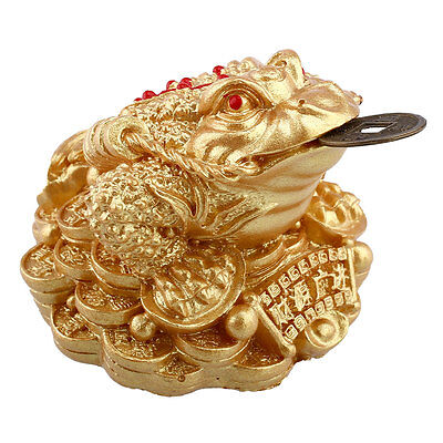 Gold Feng Shui Money LUCKY Fortune Chinese I Ching Frog Toad Home Store
