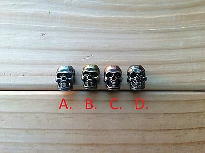 5 x skull beads for paracord knife lanyard  bracelets (4 COLOURS TO CHOOSE FROM)