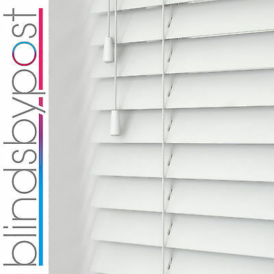 BRILLIANT WHITE - WOOD VENETIAN BLIND - MADE TO MEASURE - CHOICE OF 25,35 & 50mm