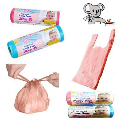 Fragranced Baby Nappy Bags 100/ 200 Bag Tie Hands Dispose Nappies Wipes Tissues