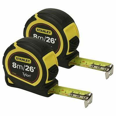STANLEY 0-30-656 Bi-Material Measuring Tape Twinpack 8m/26ft