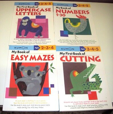 Kumon - Ages 2 to 5 - Cutting, Esay Mazes, Numbers 1-30, Uppercase letters.