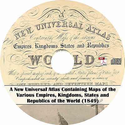 1849 New Universal Atlas by Samuel Augustus Mitchell - 73 Maps on CD