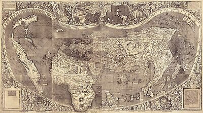 "1507 MAP, Earth, America, Europe, 20""x12"" Print, Beautiful Antique Deco History"