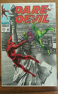 DAREDEVIL #45 lithograph cover. VG coo silver age cover with statue of liberty