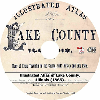1885 Illustrated Atlas of Lake County, Illinois - IL Plat Maps Book on CD