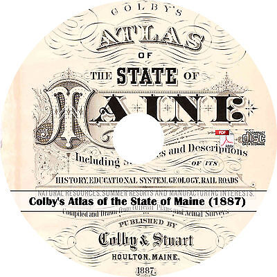 1887 Colby's Atlas of the State of Maine - ME History Genealogy Maps Book on CD