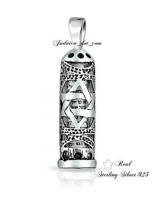 MEZUZAH Star of David & Scroll Parchment Sterling Silver Pendant Israel Jewelry