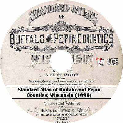 1896 Buffalo & Pepin County, Wisconsin Atlas & Plat Book - WI History Maps on CD