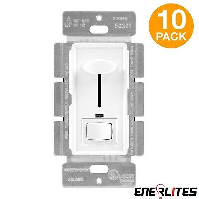 10 Pack Decorator Dimmer Light Switch Lot 3-Way Control Slide LED Locator White